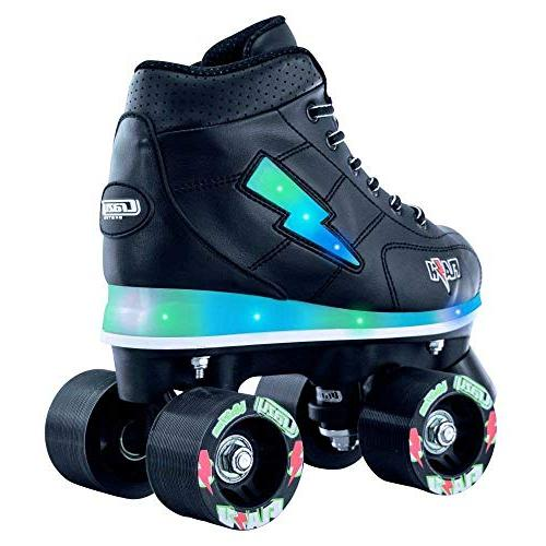Crazy Skates Skates Boys | Light Up Ultra Bright Flashing Lightning Bolt Black