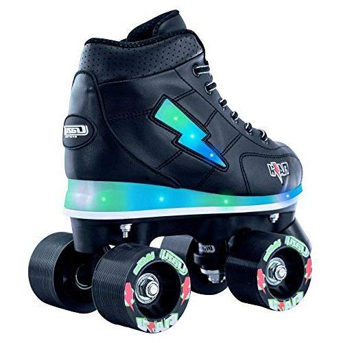 Crazy Skates Skates Boys | Light Up Ultra Bright Flashing Lightning Bolt Black