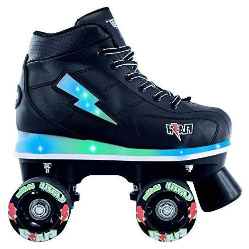 Skates | Light Up Ultra Bright Flashing Lightning Bolt Black Patines