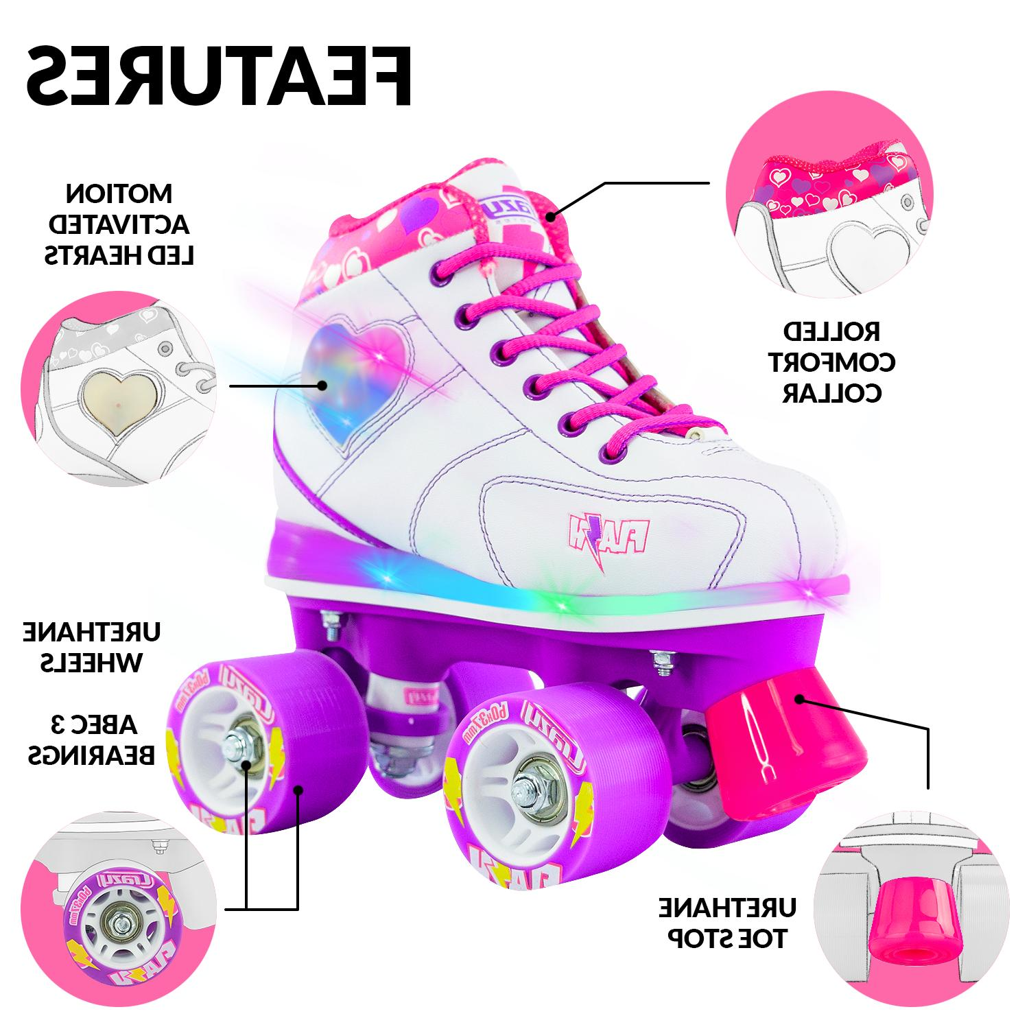 Flash Roller LED Hearts and by Skates Quad
