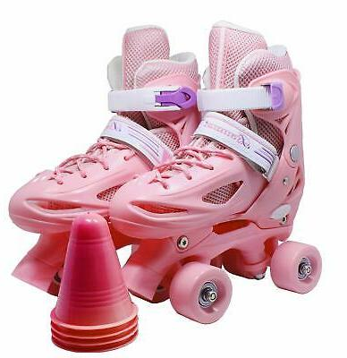 WiiSHAM Fun Roll Adjustable Canvas Skates with Four Piles… Flesh ...