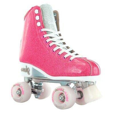 girls ladies roller skate pink glitter glam
