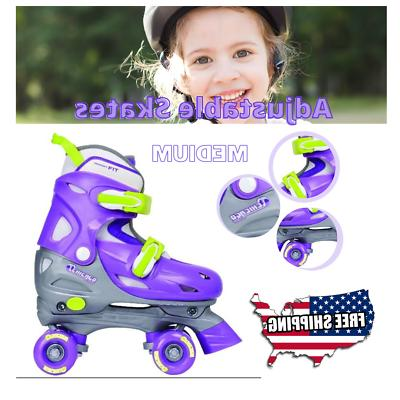 girls medium rollerskates adjustable quad kids silver