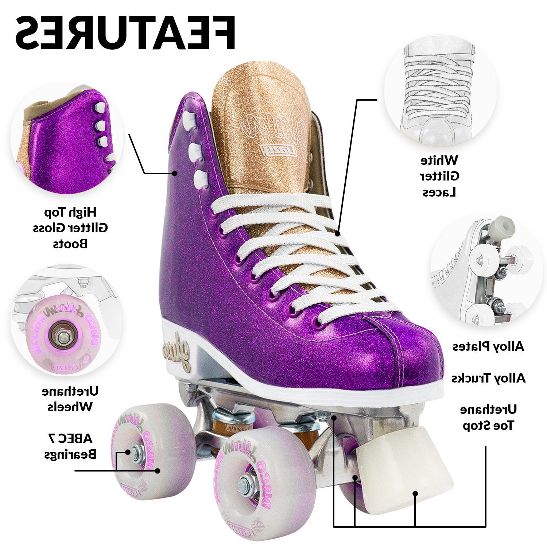 Glam Roller Crazy Skates Girls Glitter Rollerskates | Purple