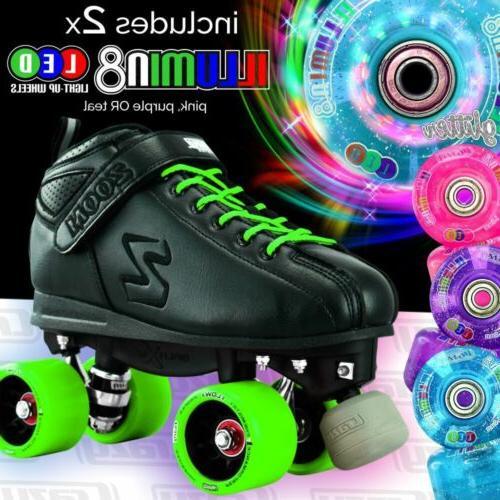 green zoom speed skate quad roller skates