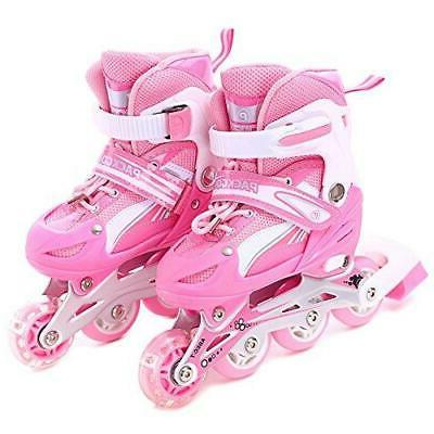 Girls Inline Skates Adjustable Rollerblades for kids Illumin