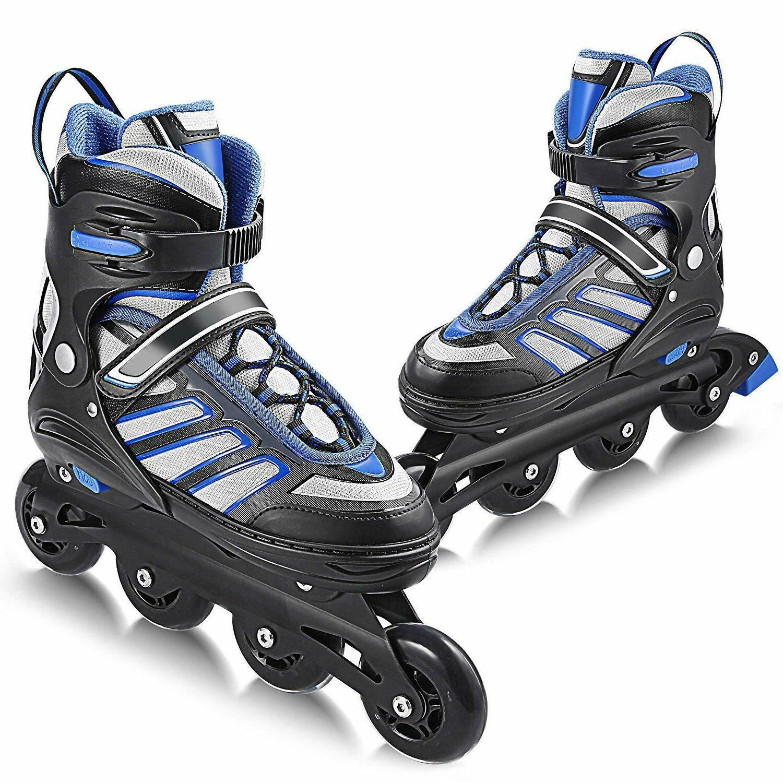 Inline Skates Roller Shoes Adjustable Size Light up Wheel Fu
