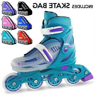 Kids 4 Size Adjustable Crazy 148 Inline Blades Girls Rollerb