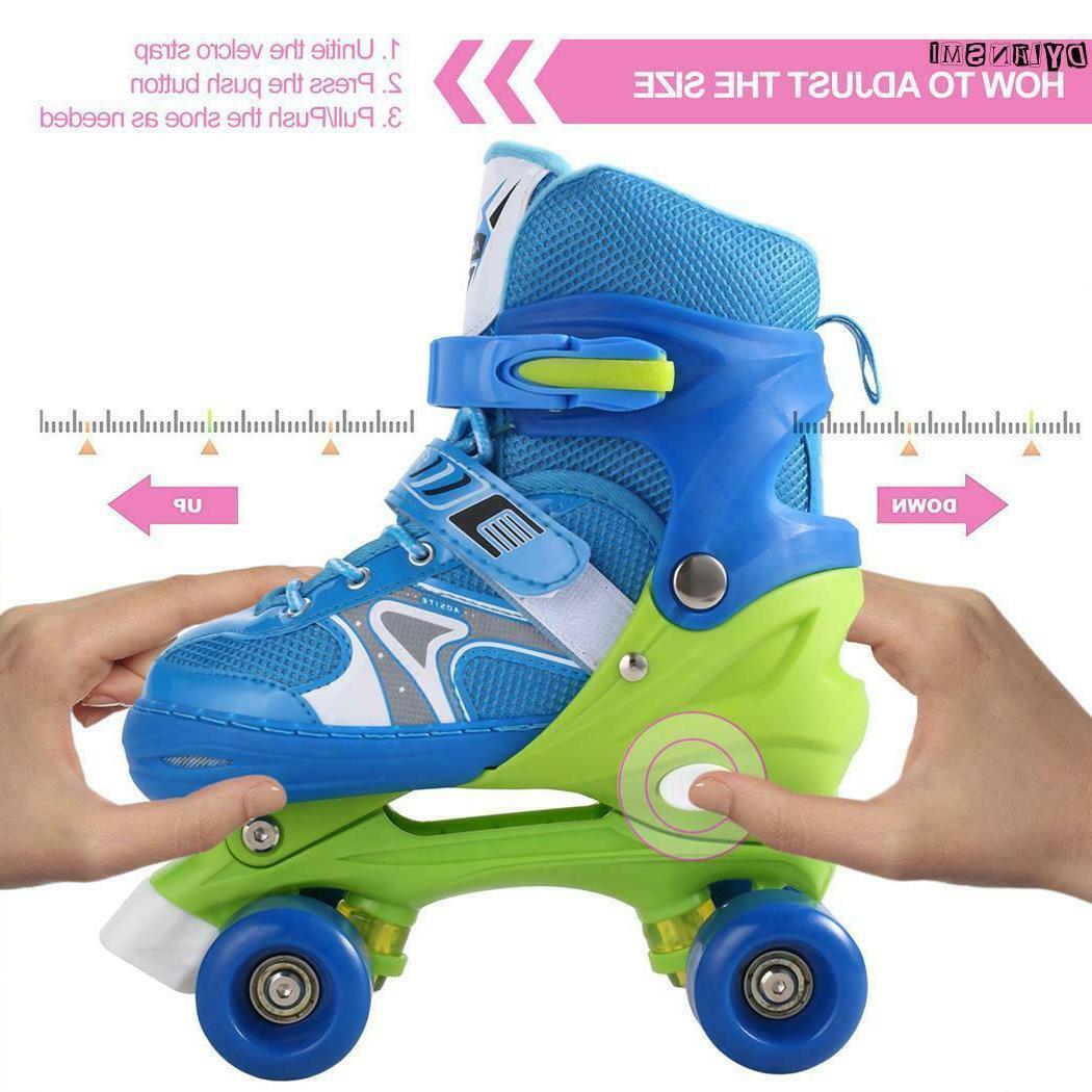 Kids Adjustable Roller Skates For Girls 2 4 WHEELS Skating Shoes