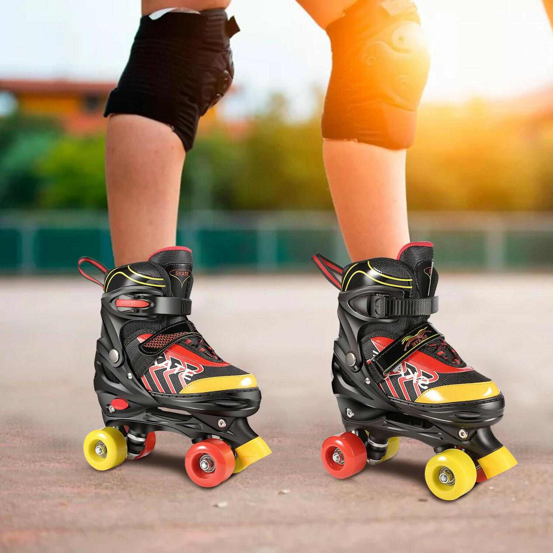 kids adjustable size roller skates double row