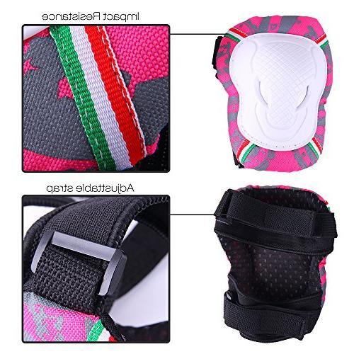 Knee Pads Kids, Protective Gear Set Knee Pads Elbow for Inline Skating Cycling BMX Ski