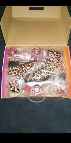 leopard roller skates size 8