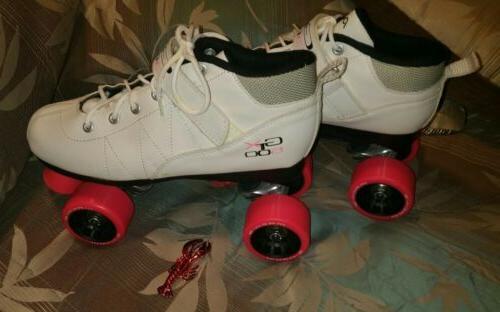 Pacer Mach-8 White Pink Skates - Mach GTX500 Quad Roller Ska
