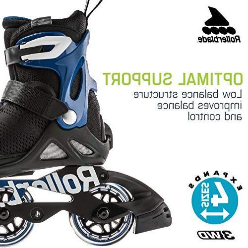 Rollerblade Microblade Kid's Adjustable Skate, Black/Sport Blue, US Kids 5-8