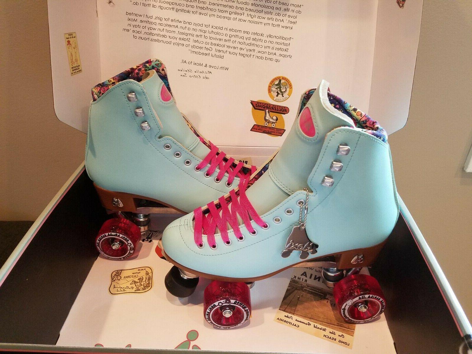Moxi Beach Bunny Roller Skates Blue Sky Size 7  Riedell IN S