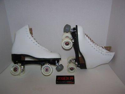 new 120 white custom leather roller skates