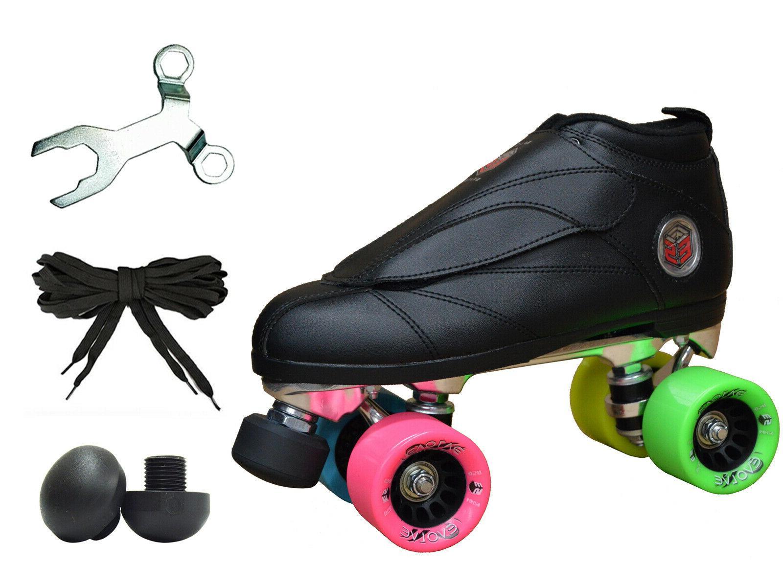 new black and rainbow evolution quad roller