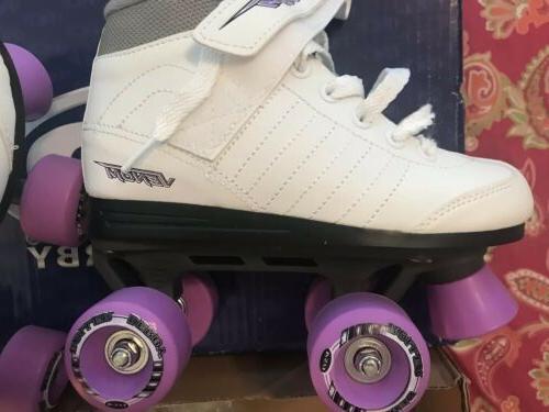 NEW Kids Skates White Lavender Size
