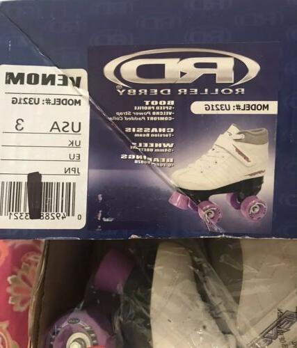 new venom kids girls skates white lavender