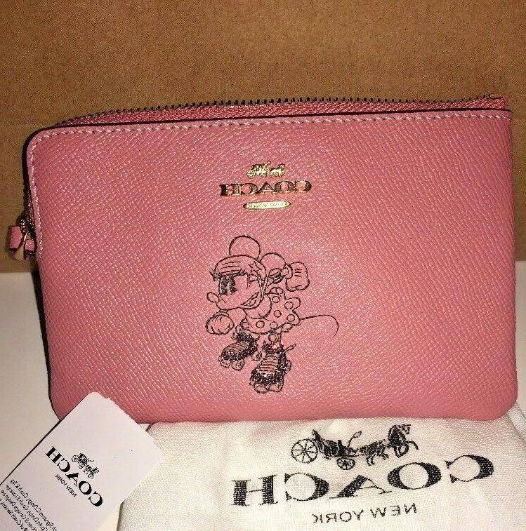 New Coach Minnie Mouse Pink Corner Zip Leather - New With