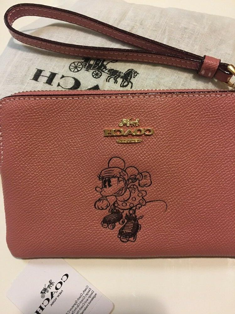 New Coach X Minnie Mouse Zip Leather New
