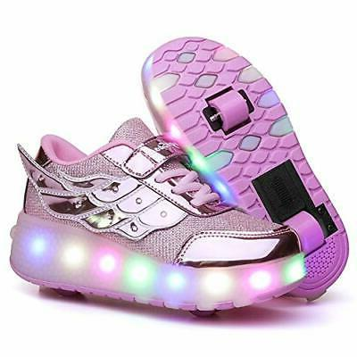 Nsasy Roller Skates Shoes Girls Boys LED USB, 586-rose-doubl