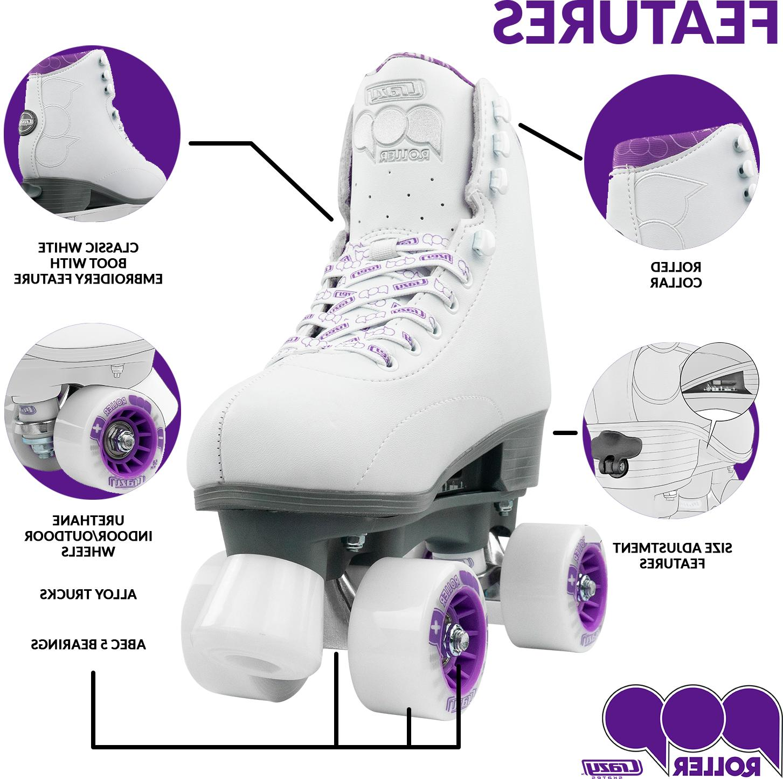 Pop Adjustable Roller Skates Girls and Kids by Skates   White