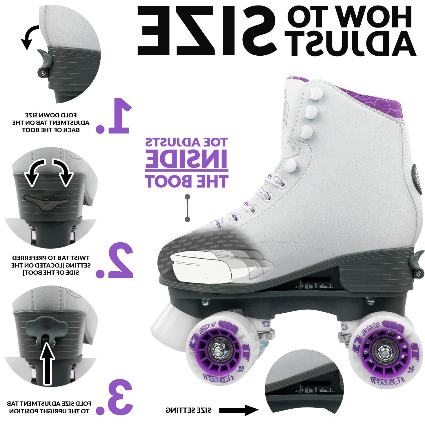 Pop Adjustable Skates for and Kids   White