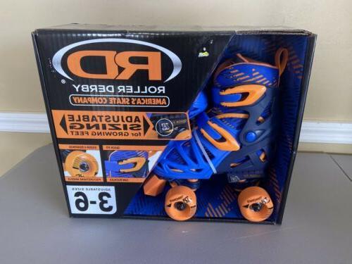 quad skates adjustable size 3 6 blue