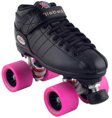 riedell r3 back and pink quad roller