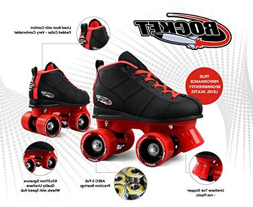Crazy Skates Rocket Roller Skates and Girls Kids with Motion Red