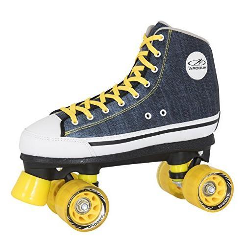 roller skates blue denim disco