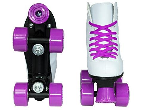 Epic Skates Princess Girls Quad Roller Skates, White, Adult 5