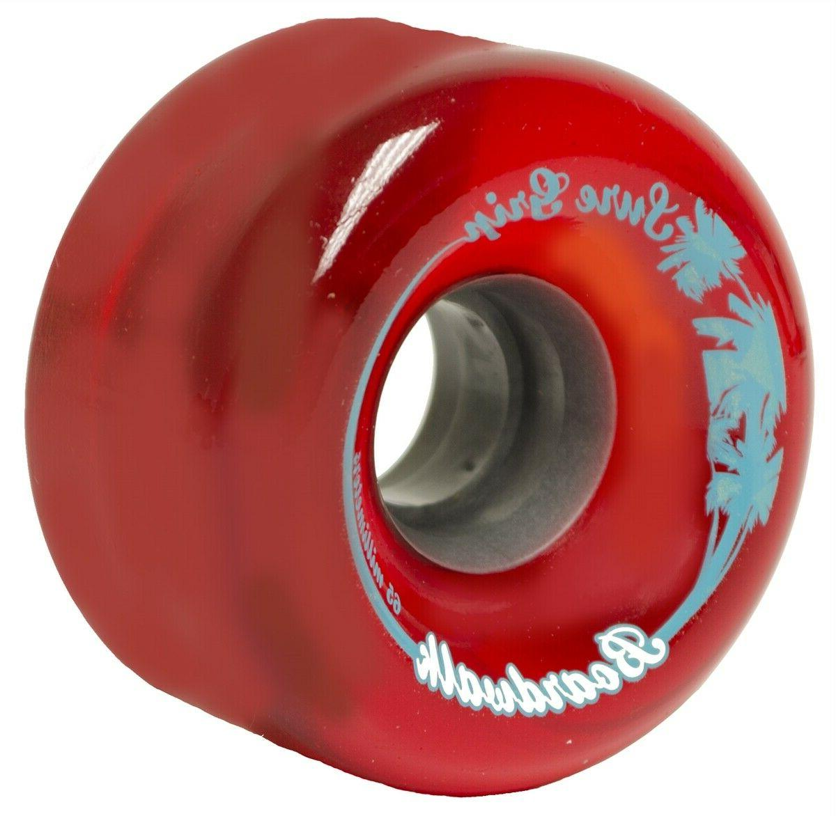 Brand New Red Boardwalk Outdoor Roller Skate Wheels 65mm