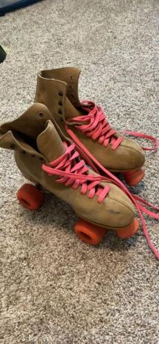 vintage tan suede roller skates vintage size