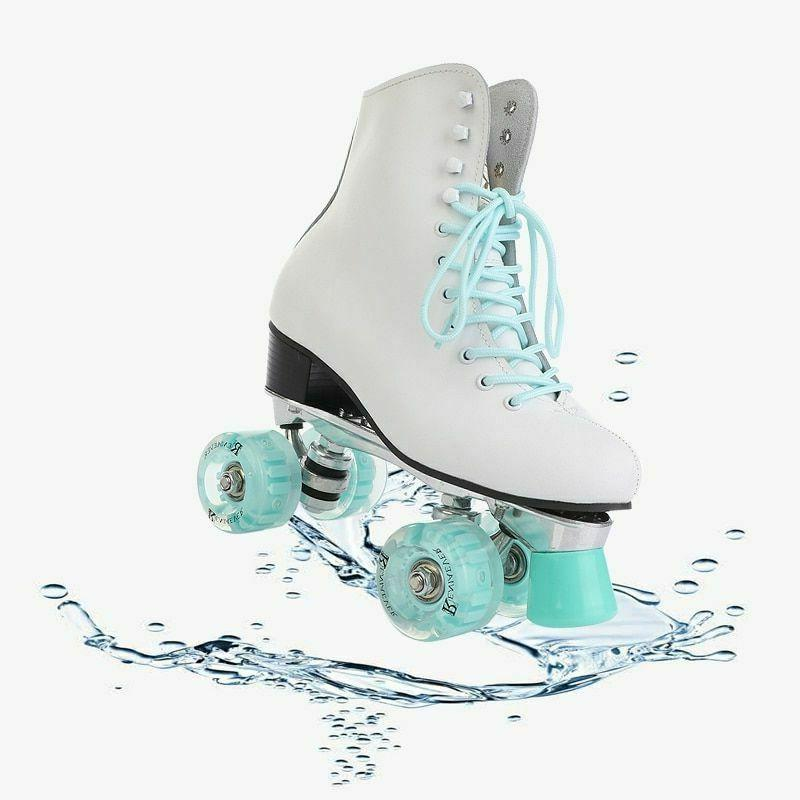 Womens Roller Double Row PU Flash Girls Skating Shoes