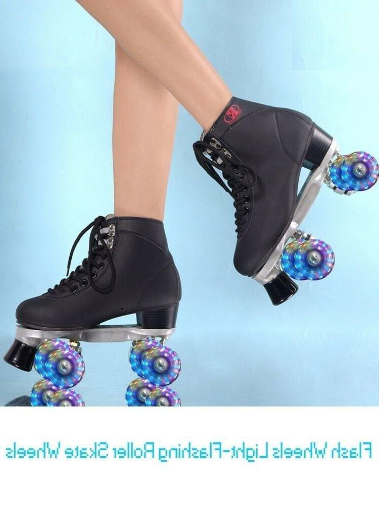Womens Roller Skates Girls Rink LED Quad Skating Shoes