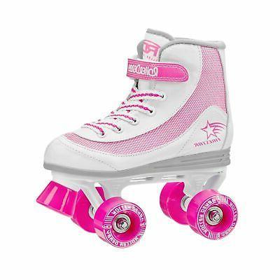 youth girls firestar roller skate white pink