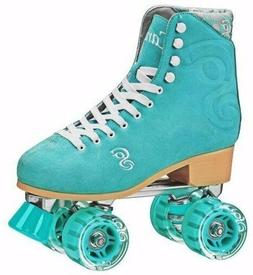 Ladies Sea Foam Suede Candi Girl Carlin High Top Quad Roller
