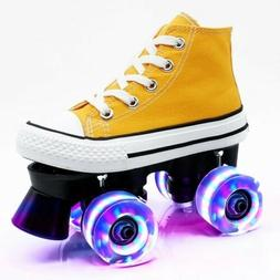 LED Light-Up Roller skates yellow with LED Wheels size 12 sm