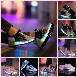 LED Sneakers for Kids Junior Girls Boys Light Up Roller Skat