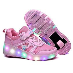 YSNJL Kids LED Light Up Roller Shoes Wheels Skate Flashing S