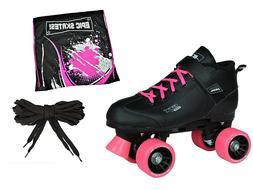 Pacer Mach-5 Pink GTX-500 Black Quad Roller Speed Skates Dra