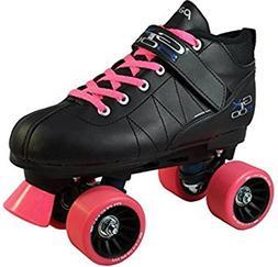 Pacer Mach-5 Pink GTX-500 Black Quad Roller Speed Skates w/