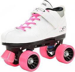 Pacer Mach-5 White Pink Skates - Mach5 GTX500 Quad Roller Sk
