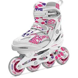 Roces Moody 4.0 Girl Girl's Adjustable Inline Skate, White/P