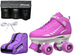New 2016 Epic Galaxy Elite Purple Quad Roller Skate 4 Pc. Bu