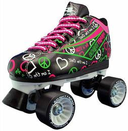 New! Pacer Black & Neon Heart Throb Quad Roller Speed Skates