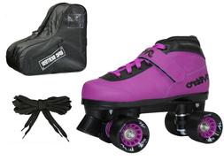 New Epic Nitro Turbo Purple Quad Roller Speed Skates Bundle
