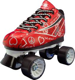 NEW! PACER HEART THROB RED ROLLER SKATES WOMEN'S sz 7 ABEC 5